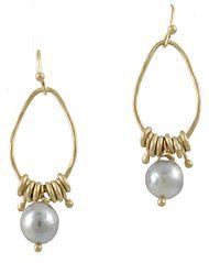 REBECCA LANKFORD- Long Oval Pearl Earrings