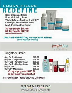 Loving this. It puts into perspective the cost of great skin care. Rodan and fields was created by the most well known dermatologists in the country. Rodan and Fields has a 60 day money back guarantee. Rodan And Fields Prices, My Rodan And Fields, Rodan And Fields Business, Rodan And Fields Redefine, Redefine Regimen, Rodan And Fields Canada, Olay Prox, Pore Minimizing Toner, Rodan Fields Skin Care