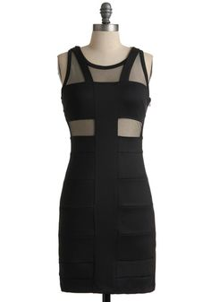 Sunset Boulevard Bash Dress - Mid-length, Black, Cutout, Sheath / Shift, Sleeveless, Solid, Party