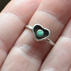 Vintage Zuni Sterling Silver Turquoise Eye in Heart Ring Size 5 Petite Tested #handmade