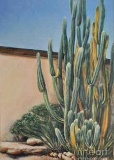 ab3b7cb208 Figurative Greeting Card featuring the painting Cactus In The Garden by Alla  Gorelik Garden Painting