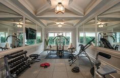 This is our current gym.  Maybe a little too heavy on the mill work for the new house?  Great mirrors though.  Mediterra Remodel, Naples, FL