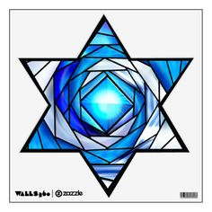 Stained Glass Magen David v2 (12 inch) Room Graphics from Zazzle.com