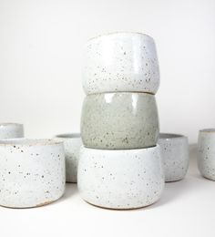 Speckled Ceramic Planters, White and Celedon