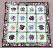 """Hand Made Art Quilt/Wall Hanging Applique """"Floral"""" Folded 33.5"""" x 33"""" #eBayDanna"""