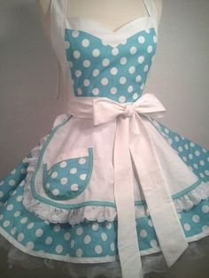 I Luv My Lucy Polka Dot Pin Up Costume Apron by PickedGreen