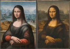 A copy of the Mona Lisa painted along side Da Vinci by his apprentice. Unlike the original, however, the paint was preserved showing what the famous painting would have looked like in 1517 - Imgur