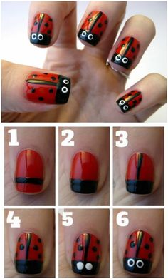 Top 101 Most Creative Spring Nail Art Tutorials and Designs This nail design is SO much fun - Ladybugs on your nails! We have rounded up some the most creative nail designs! Check out these top 101 Most Creative Spring Nail Art Tutorials and Designs! Nail Art Hacks, Nail Art Diy, Easy Nail Art, Diy Nails, Cute Nails, Nail Art Tutorials, Creative Nail Designs, Simple Nail Art Designs, Creative Nails