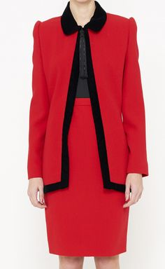 Carolina Herrera Red And Black Suit | VAUNTE