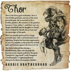 Lessons That We Can Learn From Thor. Among the Norse pantheon, there was barely a god whose reputation could rival the reputation of Thor. Thanks to the modern adaptations into movies, Thor was much more famous in this day and age. Pagan Gods, Norse Pagan, Old Norse, Viking Symbols, Viking Runes, Mythological Creatures, Mythical Creatures, Odin Norse Mythology, Thor Norse