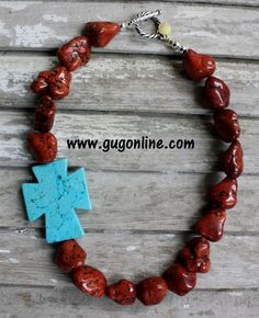 GUG Hand Strung Brown Chunky Nuggets with Turquoise Side Cross