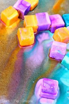 Make erupting ice chalk paint. 1/4 cup each baking soda and cornstarch. add liquid watercolor paint and 1/2 cup water. Mix well w/spoon. Pour into ice cub tray  freeze. After it starts to melt, use squeeze bottle or baster to add vinegar  make them foam.