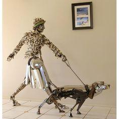 Homem escultura e Cachorro, LINDOS TRABALHOS EM SOLDA DE PEÇAS METÁLICAS