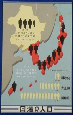 "1930's Japanese Postcard "" Population of Japan & Manchukuo"" - Japan War Art"