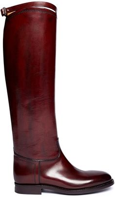 Burgundy Leather Knee High Boots by Alberto Fasciani. Buy for $1,115 from Lane Crawford