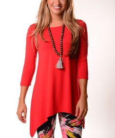 a2a4d00eee9 Lbisse Red Three-Quarter Sleeve Sidetail Tunic - Plus