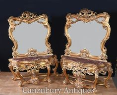 Pair French Commodes - Louis XVI Chests of Drawers Console Table, Console Mirror, Adam Style, Antique Market, Mirror Set, Louis Xvi, Minimal Design, Rococo, Contemporary Interior