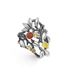 Silver Forest ring with coloured stones and diamonds. Ole Lynggaard Copenhagen. Charlotte Lynggaard.