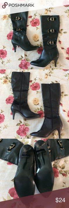 Stylish black boots Merona collection by target black boots with gold buckles. Excellent used condition. Size 7 women's. ❤️ Shoes Heeled Boots
