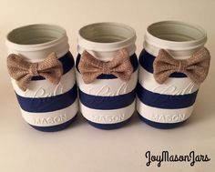 Set of 3 Nautical baby shower mason jars baby by JoyMasonJars