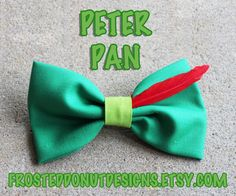 Peter Pan Inspired Disney Bow by FrostedDonutDesigns on Etsy Disney Hair Bows, Disney Nails, Disney Diy, Disney Crafts, Ribbon Bows, Ribbons, Diy Hair Accessories, Cheer Bows, Mickey Ears