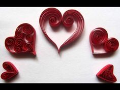 Quilled Hearts/ 5 different Hearts/ Easy to make Quilled Hearts - YouTube