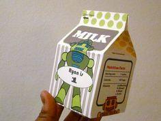 Milk carton Robots Printable file Original art Favor by katikamade, $4.50
