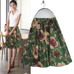2014 Verão Ladies Bohemia Vintage Elastic cintura Patchwork Rosas Flores Borboleta Imprimir Verde Linho Saias / Livre Shipping/C333 US $14.97