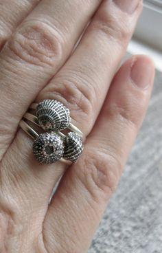 kleine Spirale Muschel Ring Stapler Sterlingsilber von ballandchain