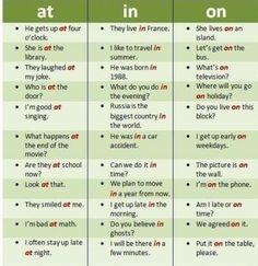 ESL Tips - Basic prepositions in English grammar Mais English Tips, English Fun, English Writing, English Study, English Class, English Words, English Lessons, Teaching English, Learn English Speaking