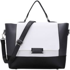 Color Block Trapeze Crossbody Bag (240.120 IDR) ❤ liked on Polyvore featuring bags, handbags, shoulder bags, black and white, trapeze handbag, convertible purse, black and white purse, black and white colorblock handbag and shoulder handbags