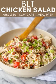 This Whole30 BLT Chicken Salad is the kind of quick and easy lunch that helps get me through the 30 days. Just pack this chicken salad up and enjoy on a bed of lettuce, in lettuce cups or simply on its own. Easy Salad Recipes, Chicken Salad Recipes, Easy Healthy Recipes, Lunch Recipes, Dinner Recipes, Juicer Recipes, Kitchen Recipes, Cooking Recipes, Cooking Tips