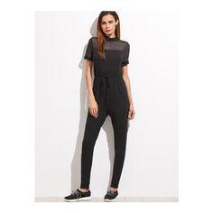 SheIn(sheinside) Black Sheer Mesh Sleeve Drawstring Waist Tapered... (26 BGN) ❤ liked on Polyvore featuring jumpsuits, black, sleeved jumpsuit, jump suit, summer jumpsuits, drawstring waist jumpsuit and short sleeve jumpsuit