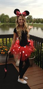 Red Minnie Mouse Adult Girls Costume Tutu Ears Tail | eBay // tutu ($14.00) and Minnie Mouse ears ($10.00) are sold at Walmart btw!