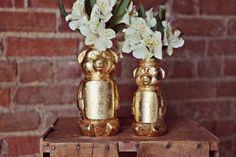Golden honey bear vases that'd be a beary sweet gift for any flower child. | 32 Semi-Homemade Gifts That'll Make Anyone Feel Loved