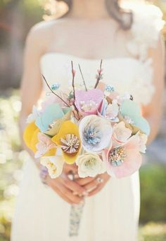 Honestly amazing - this bouquet is made of paper! See more: 20 Unique DIY Wedding Bouquet Ideas #wedding #bouquet