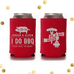 I DO BBQ - Custom Koozie - Backyard Barbeque - Wedding Favor - Personalized Engagement Party Gift on Etsy, $70.00