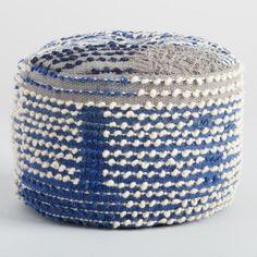 Indigo Blue Wool Boho Pouf - v2