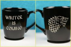House Stark Direwolf sigil and Winter Is Coming Game Of Thrones Inspired Etched Coffee Mug, game of thrones gift, house stark gift