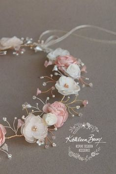 A customizable flower crown / wreath - hair vine with delicate handmade flowers and detailing echoing baby's breath inspiration. Colors of the original are blusBridal flower crown wreath - colors to order - Rose Gold Blush Pink and Ivory STYLE: NicciCoron Blush Rosa, Blush Pink, Dusty Pink, Copper Jewelry, Hair Jewelry, Copper Wire, Jewellery, Floral Crown, Crown Flower