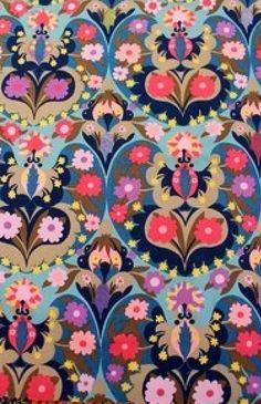 Details about Vintage Sanderson 'Ormara' pink blue lilac floral fabric 116cm x…