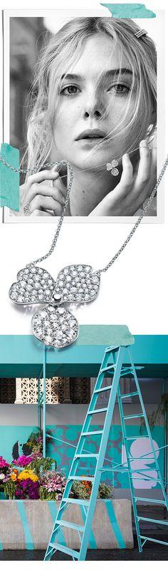 Tiffany OFF! Tiffany Paper Flowers™ pave diamond flower pendant in platinum. Tiffany Necklace, Tiffany Jewelry, Pearl Jewelry, Platinum Jewelry, Jewlery, Tiffany Blue Weddings, Romantic Picnics, Princess Style, Elle Fanning