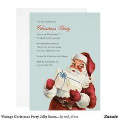 Vintage Christmas Party Jolly Santa Blue Holiday Card