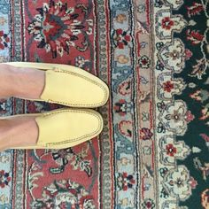 Tod's butter yellow driving shoes Elegant butter yellow loafers. Womens, European size 41. Reg width. Very comfortable and supportive. Condition:Some wear as shown in pictures. A few black scuff marks on sides of shoes. Outer part of heel is worn. Sole has wear - may need to be resoled. One of the insoles isn't glued in any more -as shown in second picture. But it doesn't move or do anything when you wear them. Tod's Shoes Flats & Loafers