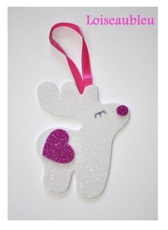 white and pink glitter reindeer hanging christmas tree ornament - white reindeer hanger - reindeer tree decor for kids - reindeer hanger - christmas reindeer child decoration - cute baby christmas decoration
