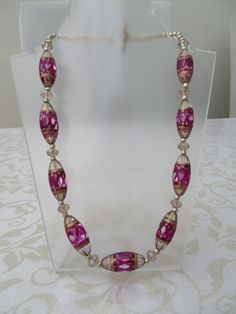 Glass Venetian style/crystal cerise pink by JewelInfinityBeyond