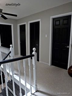 """( I did dark brown) Picture shows Black Interior Doors, white trim. Two coats SW all surface lacquer in """"caviar"""" using angled brush for panel details, small foam roller on rest for smooth finish. SW """"oxford white"""" for trim. Black Interior Doors, Black Doors, Interior Paint, Home Interior, Paint Doors Black, Interior Door Colors, Studio Interior, French Interior, Design Hall"""