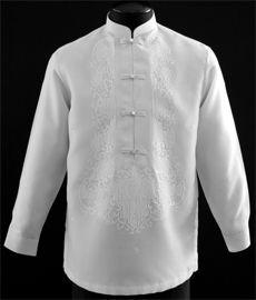 Mandarin Collar Tuxedo Shirt Barong Tagalog - Barongs R us Barong Tagalog Wedding, Filipiniana Dress, Filipino Fashion, Philippines Fashion, Chinese Collar, Line Shopping, Formal Looks, Mandarin Collar, Suits