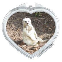 Attractive White #meerkat Ladies #compact Mirror. Mirror For Makeup