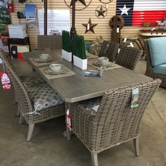 This charming wicker patio furniture can be found at The Backyard & Patio Store. Patio Store, Wicker Patio Furniture, Backyard Patio, Outdoor Living, Texas, Dining Table, Design, Home Decor, Outdoor Life